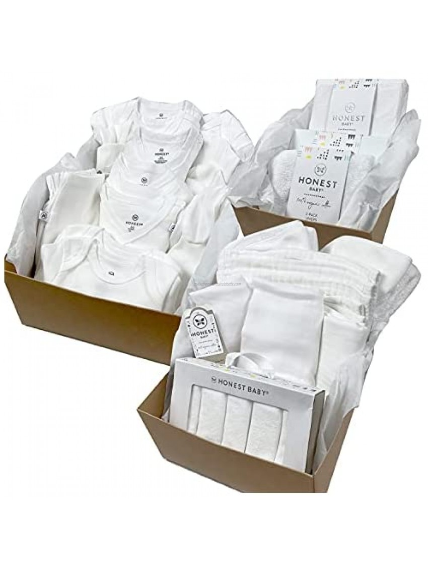 HonestBaby 50-Piece Organic Cotton Oh Baby Set in a Gift Box  Bright White  0-3 Months