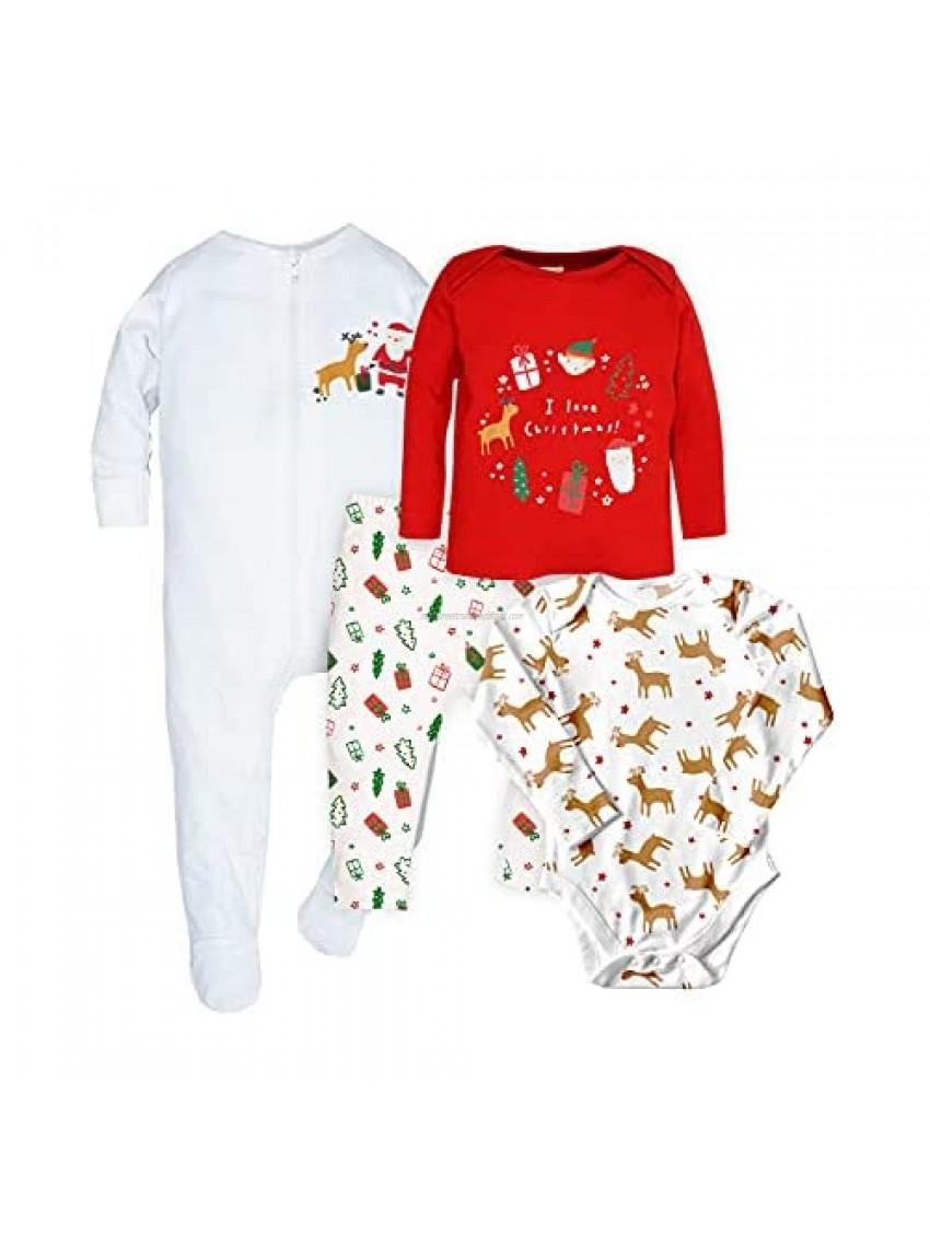 WINK & BLINk Christmas 100% Organic Cotton Baby Sleep N' Play  Bodysuit and Top+Bottom Pajama Sleeper Set