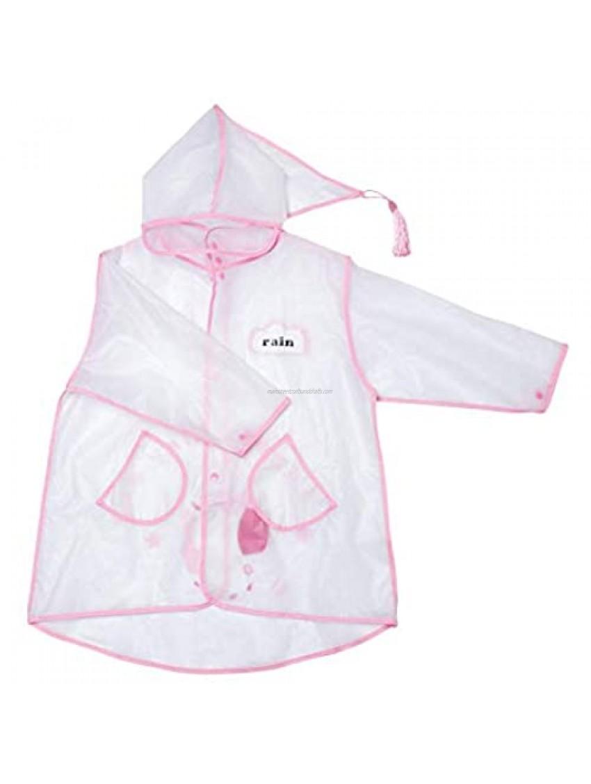Children raincoat kids transparent waterproof hooded raincoat raincoat for boys and girls-pink_XXL