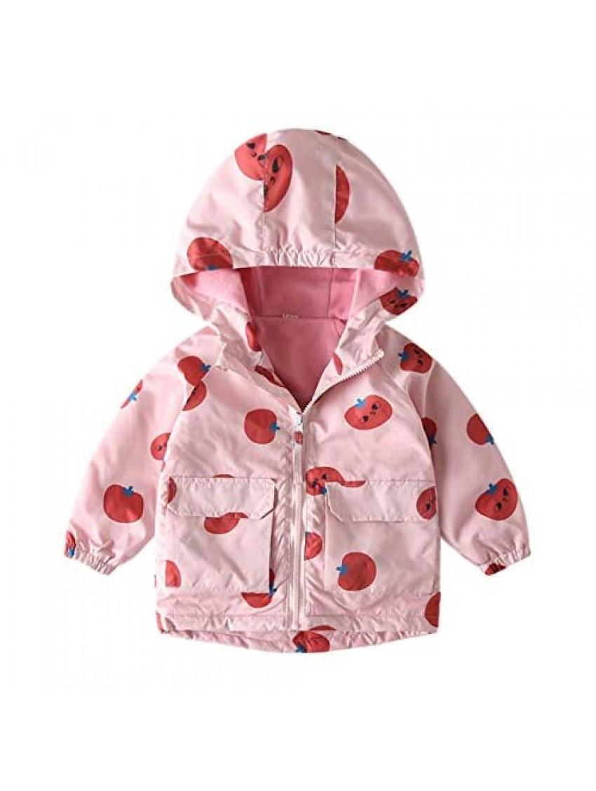 Girls Rain Jackets Lightweight Waterproof Hooded Coat Winter Outwear