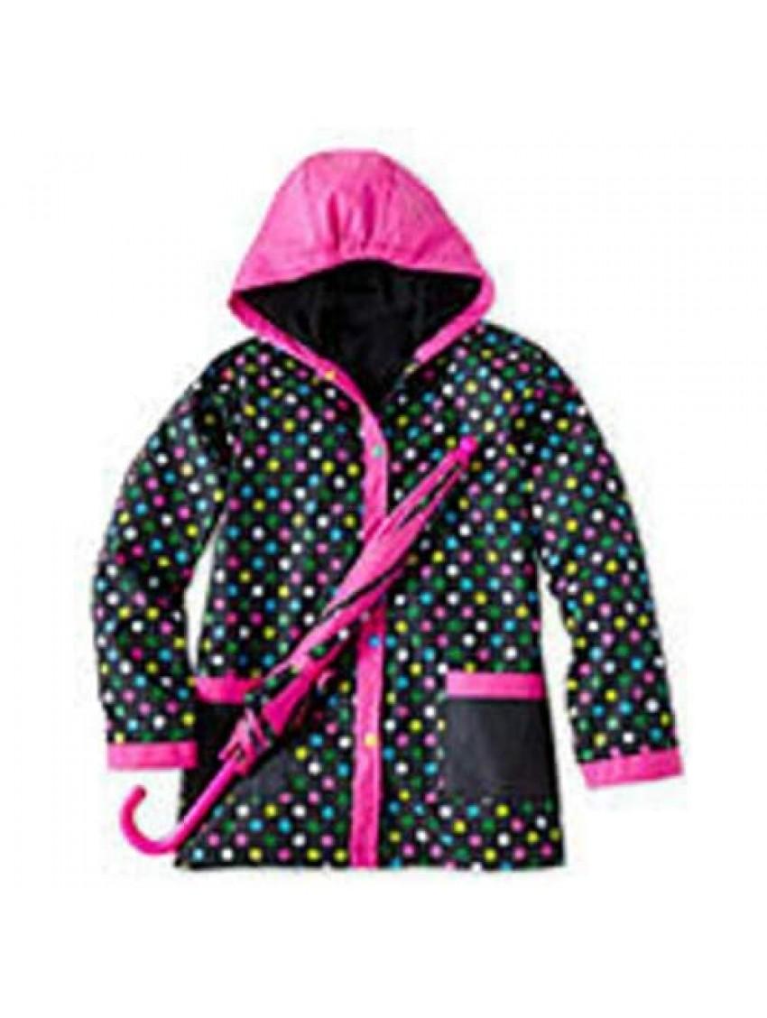 I Love Rainy Days Girls Sz Sm 2 pc Set inc Rain Jacket and Unbrella