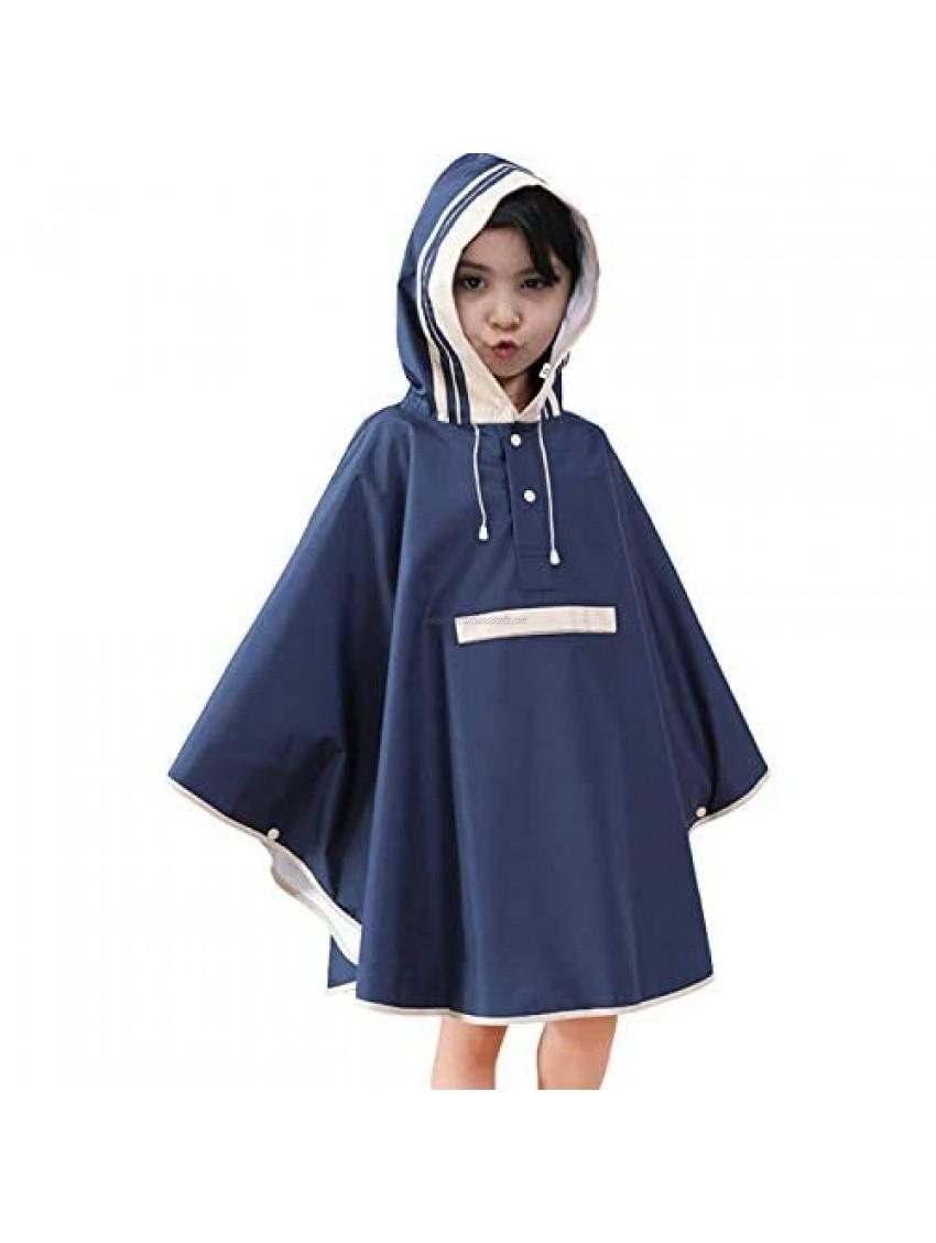 Kids Waterproof Raincoat Girls Poncho Rain Capes All in One Reusable Rainwear