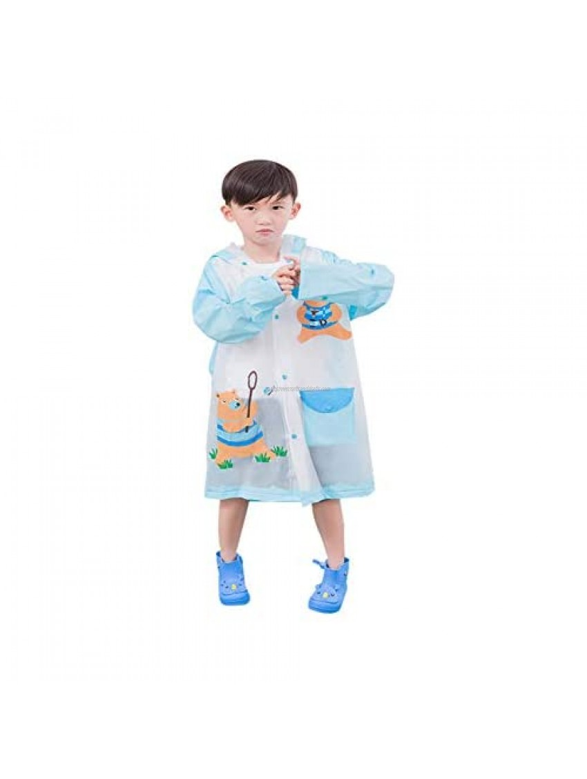 SUNGFINE Raincoat for Kids PVC Kids Rain Coat Reusable Rain Poncho Jacket for Boys and Girls 4-10 Years Old