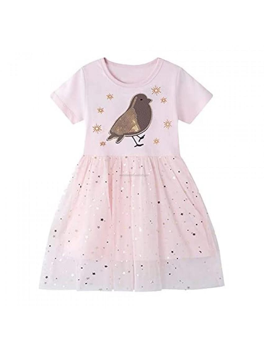 LZH Girl Cotton Dress  Toddler Girls Casual Short Sleeve Dresses 1-7 Years