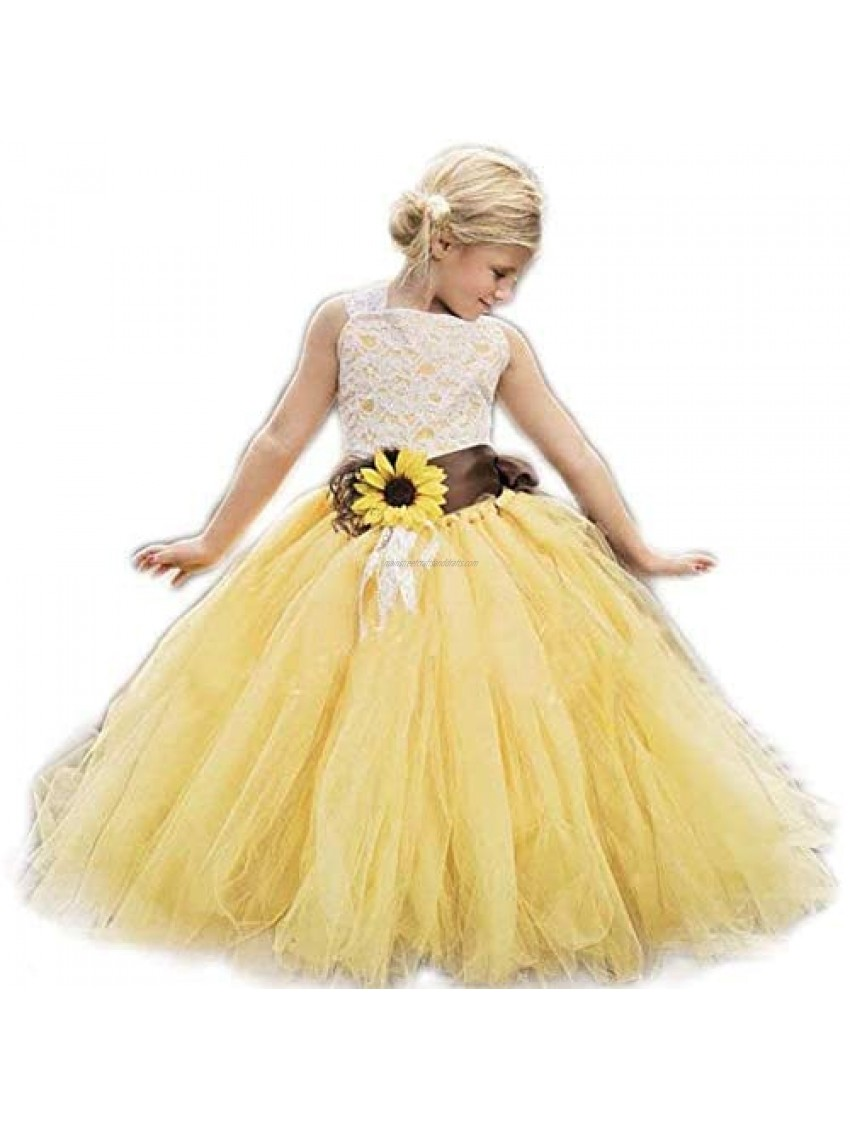 Luweds Yellow Tulle with Sunflower Belt Flower Girl Dress for Communion Pageant Dresses