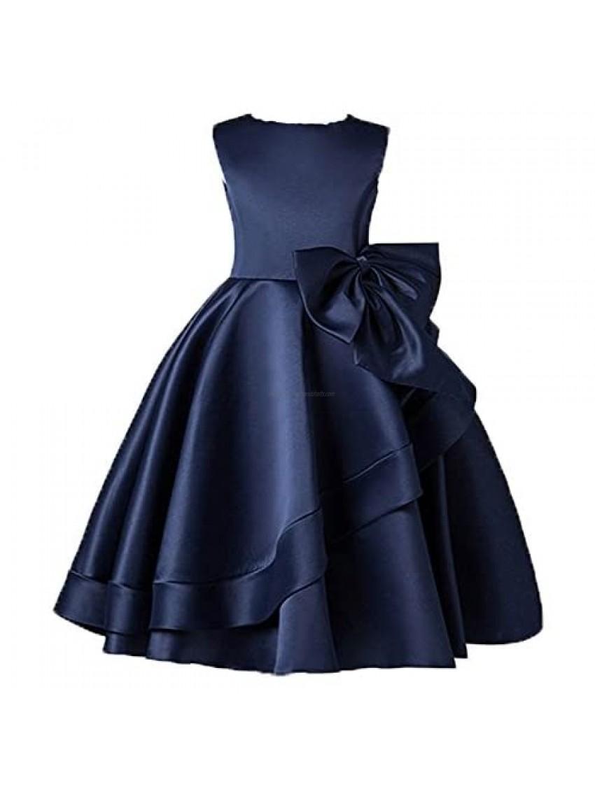 Navy Flower Girl Dresses Knee Dress and Party Dresses for Little Girls