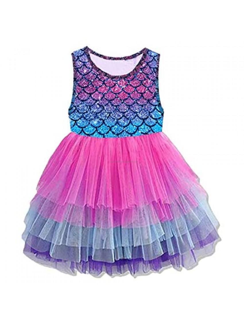 VIKITA Girls Casual Dress Toddler Girl Summer Dresses Short Sleeve Tutu Dresses for Little Girls 3-8 Years