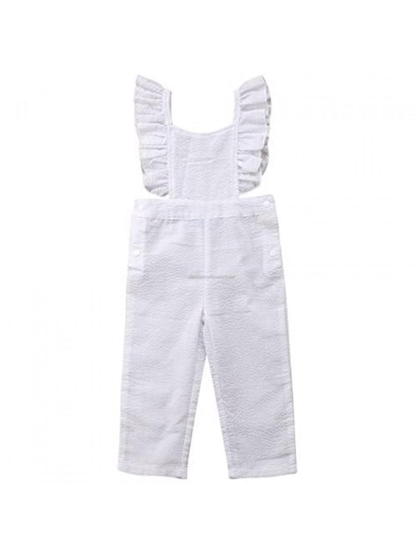 Baby Little Girls Ruffle Fly Sleeve Seersucker Cotton Loose Jumpsuit Romper Overalls Long Pants