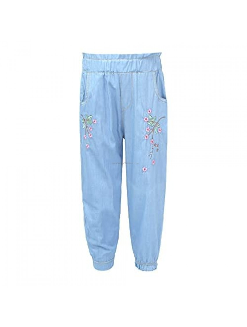 Oyolan Girls Jeans Denim Covered Elastic Stretch Waistband Printed Flower Pattern Loose Pants Light Blue 7-8 Years