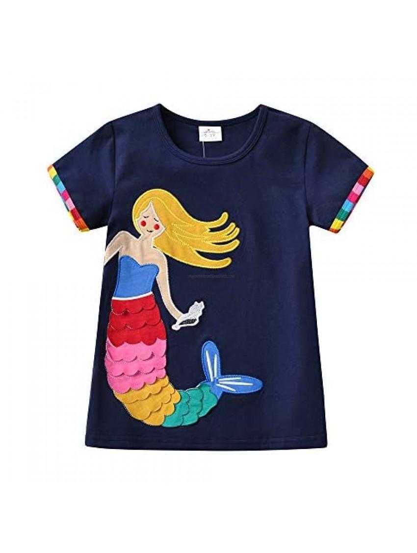 DXTON Toddler Girls Clothes Crewneck Tops Summer Girls Short Sleeve T-Shirt