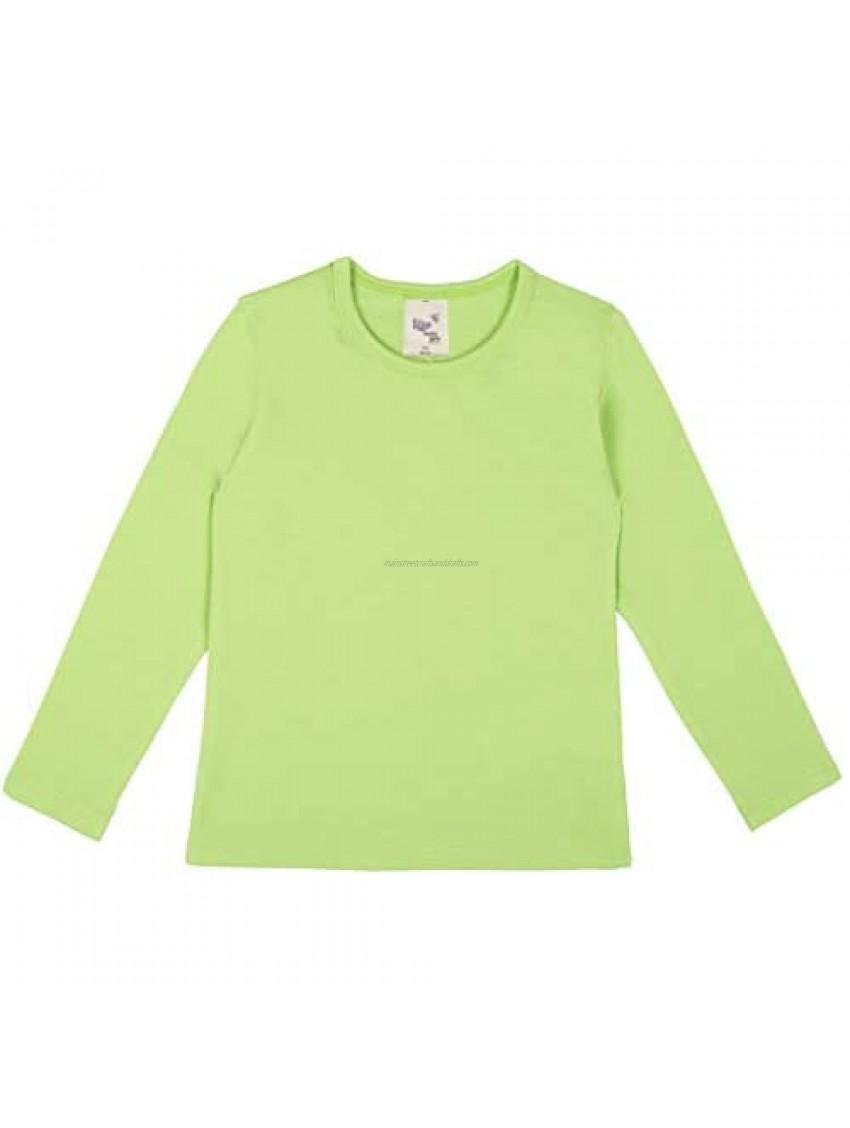 Lilax Girls' Basic Long Sleeve Round Neck Cotton T-Shirt