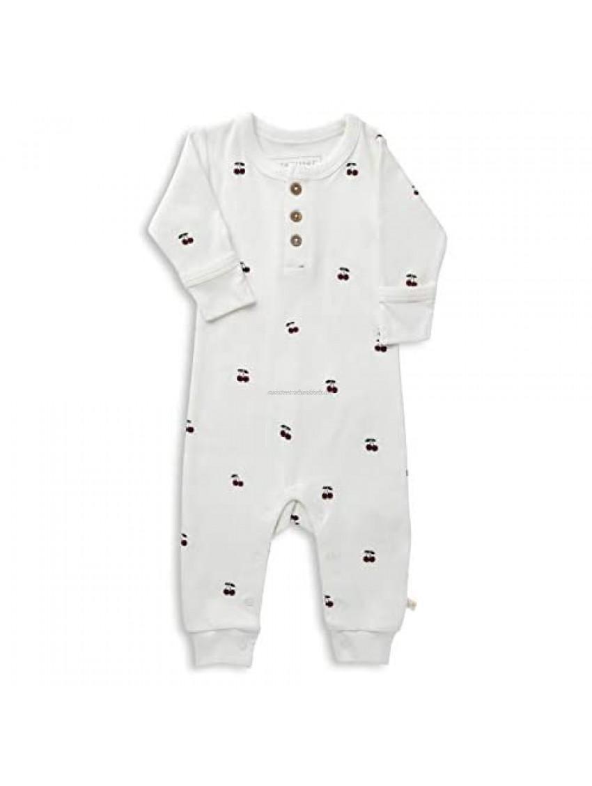 MakeMake Organics Organic Cotton Baby Button Romper Long Sleeve Jumpsuit Pajamas Footie