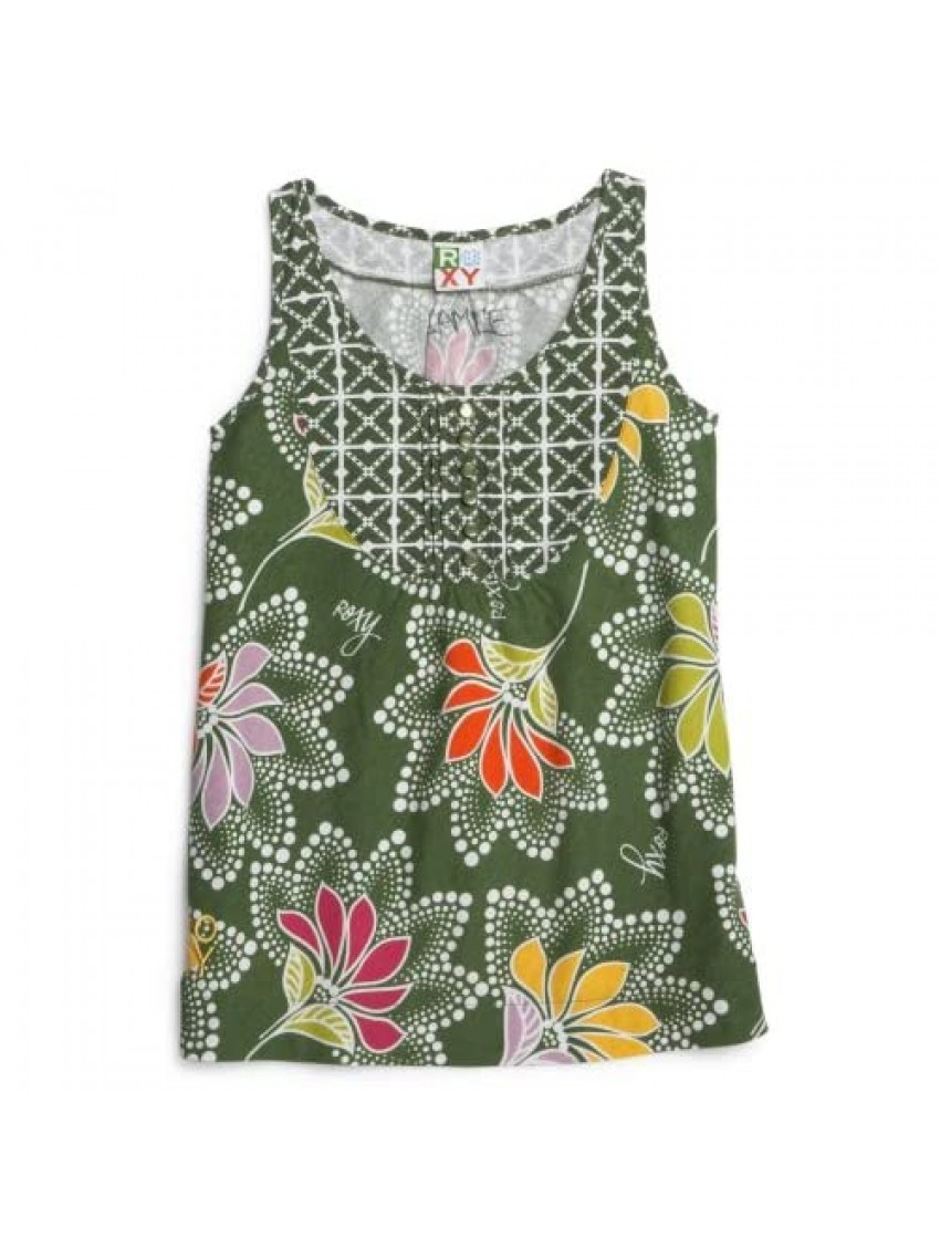 Roxy Big Girls' Any Other Day Printed Tank With Contrast Bib Detail