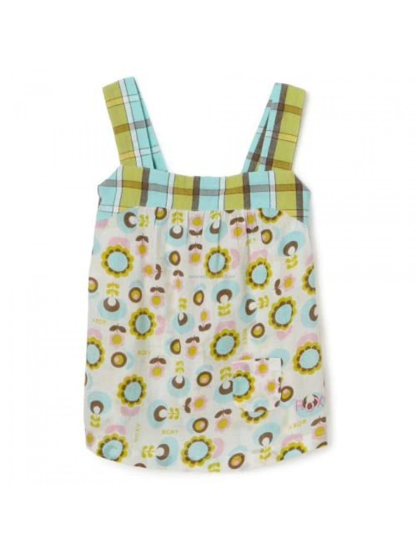 Roxy Little Girls' Teenie Wahine - You Betcha Mixed Print Woven Tank With Pocket Detail