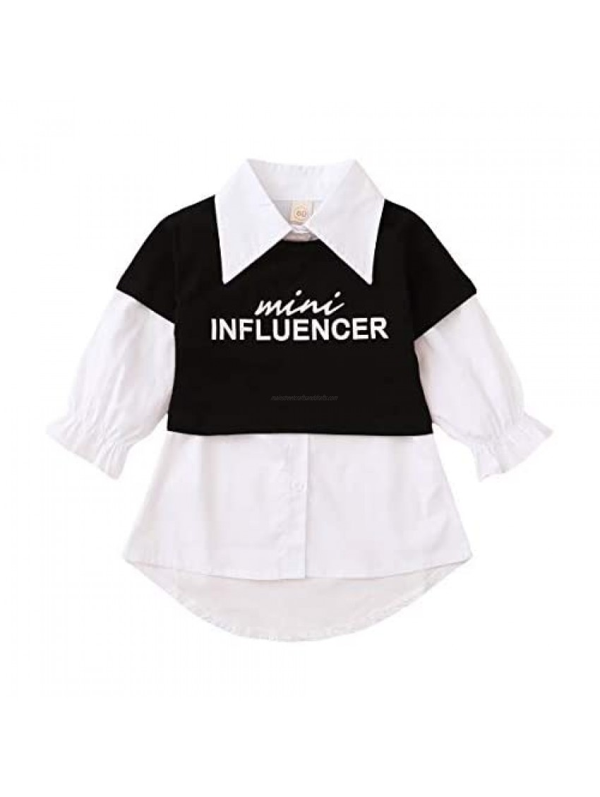 2 Piece Girl's Blouse Outfits Long Sleeve Button Down Shirt Letter Printed Short Cami Tops Photography Set