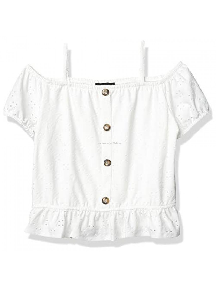 Amy Byer Girls' Button Front Off The Shoulder Top
