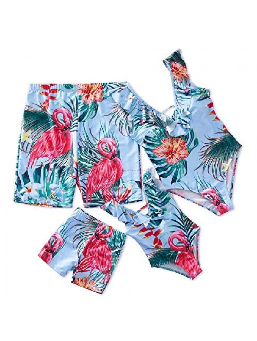 IFFEI Mommy and Me Swimsuit One Piece Flamingo Printed V Neck Family Matching Swimwear