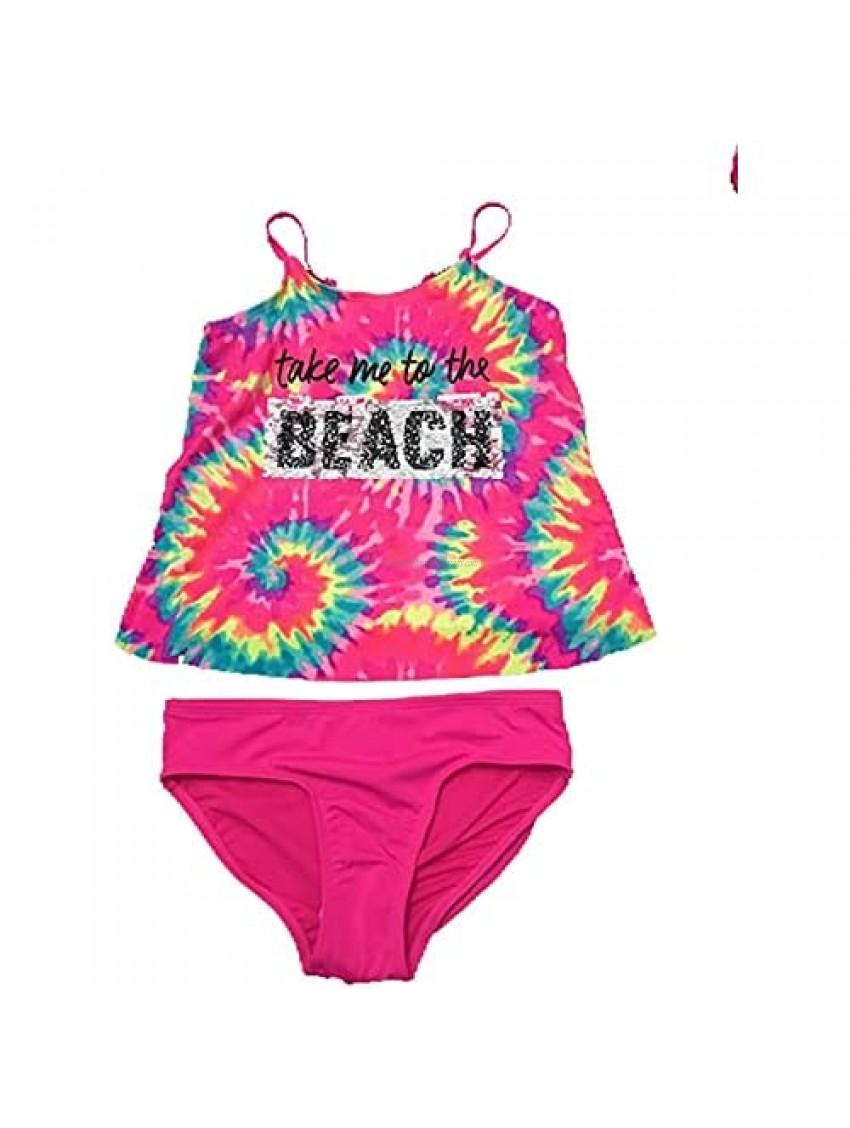 Justice Swimwear Take Me to The Beach Flip Sequin Tankini Set Tie Dye