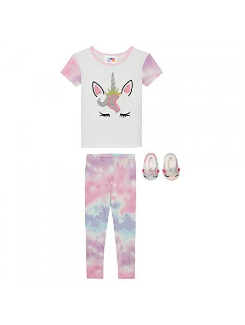 Btween Girls 3-Pack Pajama Set with Tee Shirt Pants and 3D Unicorn with Fur Hair Slippers