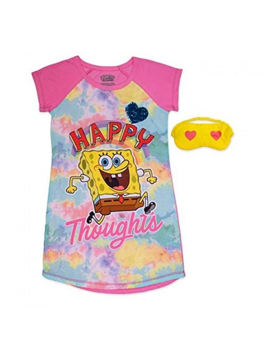 SpongeBobGirl's Pajama Nightshirt  Pajama Set Bundle with Sleep Mask