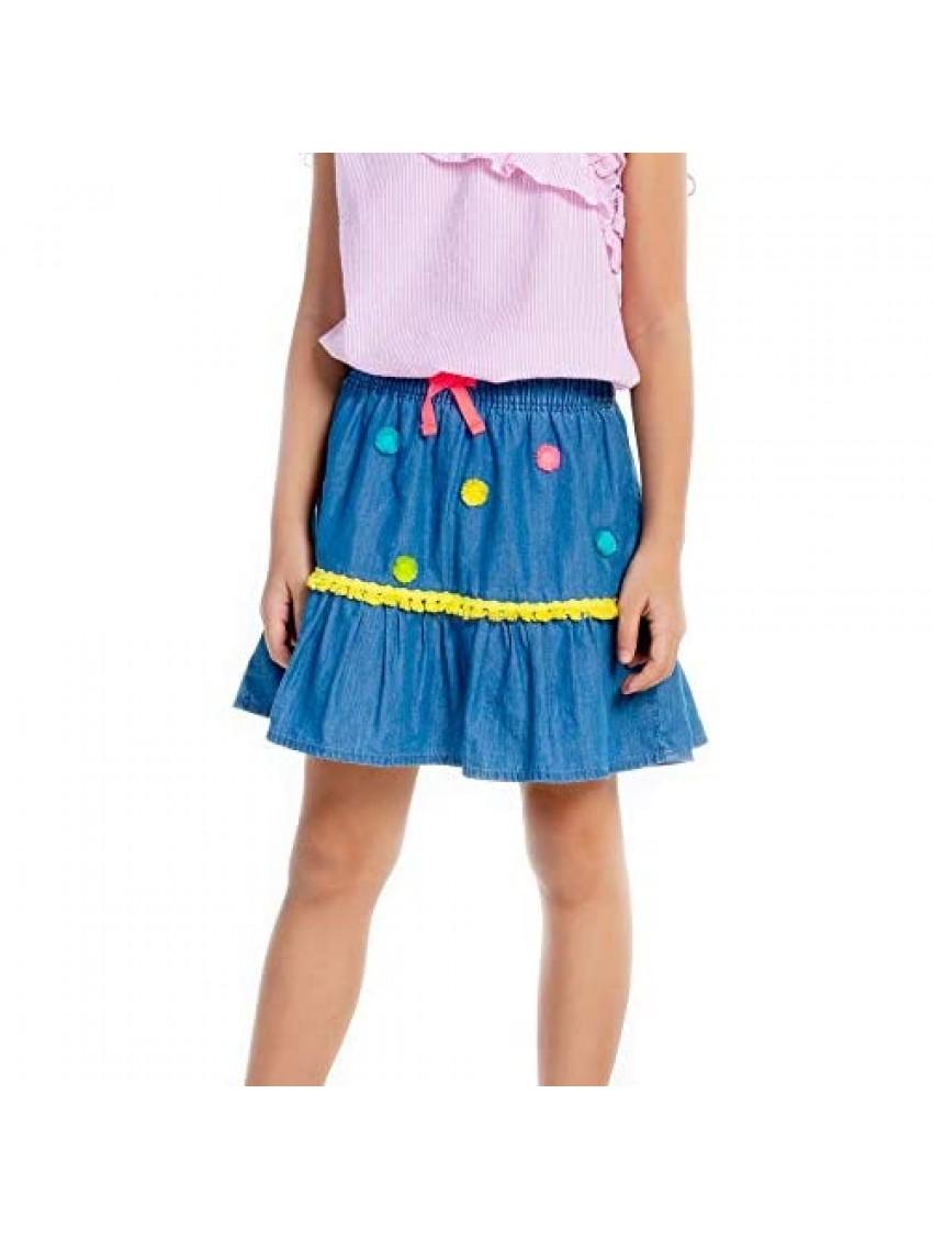 M.D.K Girls Pom Pom Embroidery Ruffles Elastic Waist Pull On Denim Mini Skirt
