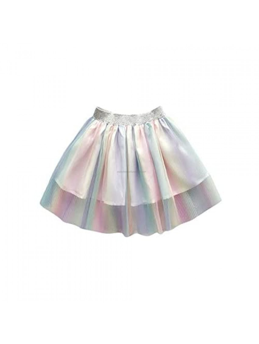 Toddler Baby Girls Kid Skirts Ruffled Elastic High-Waist Tulle Tutu Skirt Pearl Sequin Bow Princess Party Casual Outfit