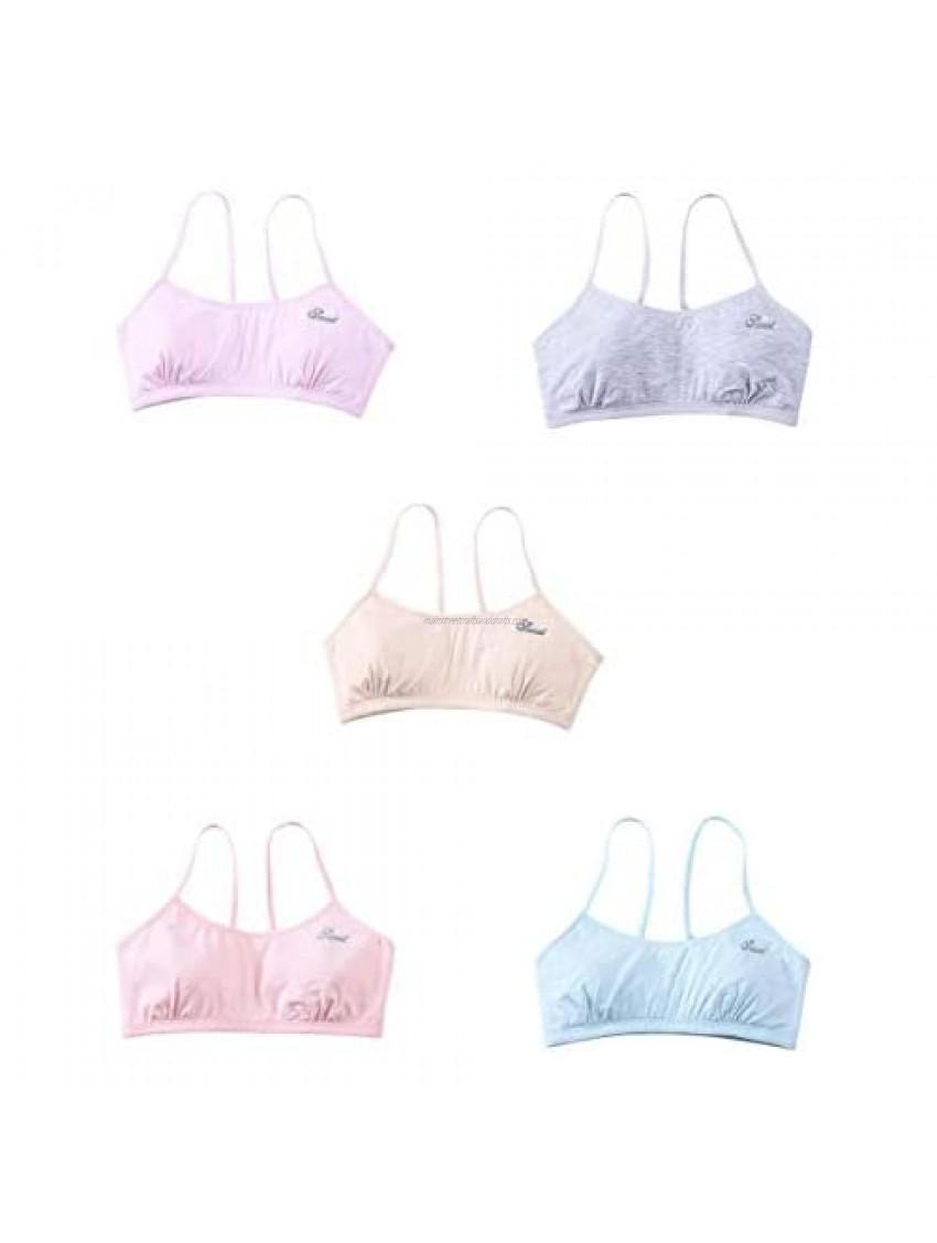 Deevoka 5 Pieces Teen Bra Girls Soft Breathable Training Bra Vest Seamless Wireless