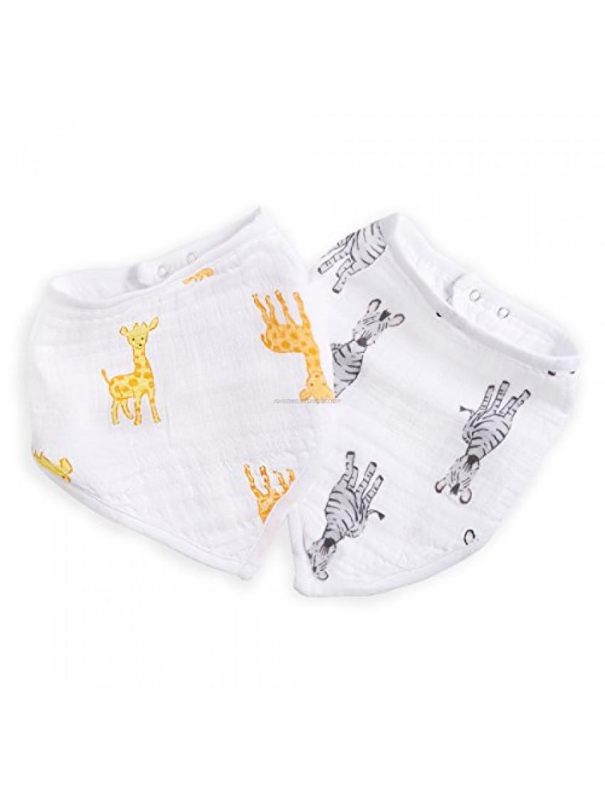 aden + anais Essentials Bandana Baby Bib  100% Cotton Muslin  3 Layer Burp Cloth  Super Soft & Absorbent for Infants  Newborns & Toddlers  Adjustable with Snaps  2 Pack  Safari Babes - Giraffe/Zebra