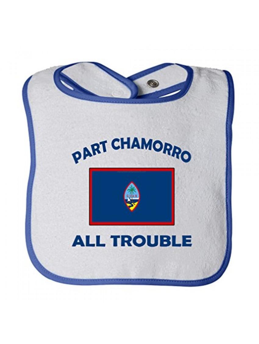 Part Chamorro Guam All Trouble Tot Contrast Trim Terry Bib White/Royal Blue