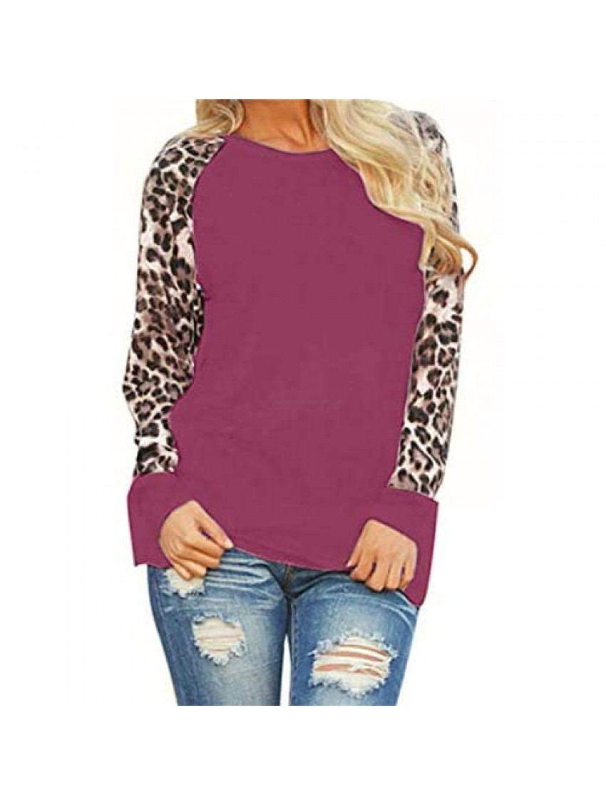 Pinkpaopao Women's Leopard Print Patchwork Long Sleeve Tops Fashion Loose Casual Pullover Blouse