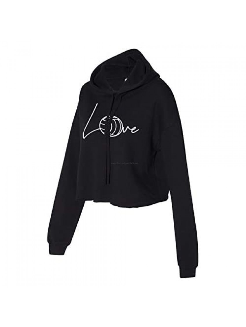 Love Volleyball Cropped Hoodie for Athletic Teen Girl