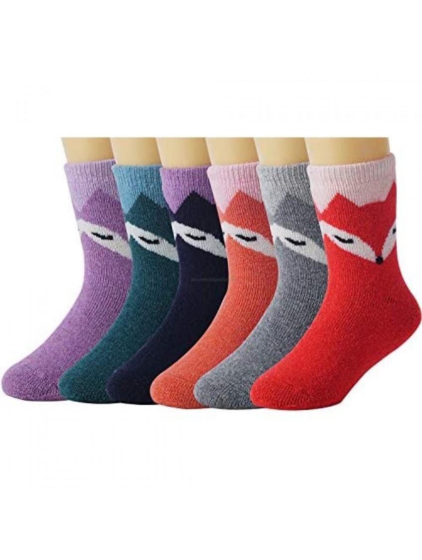 La Volupte Children's Winter Warm Wool Socks Kids Boys Girls Cute Animal Crew Socks 6 Pairs