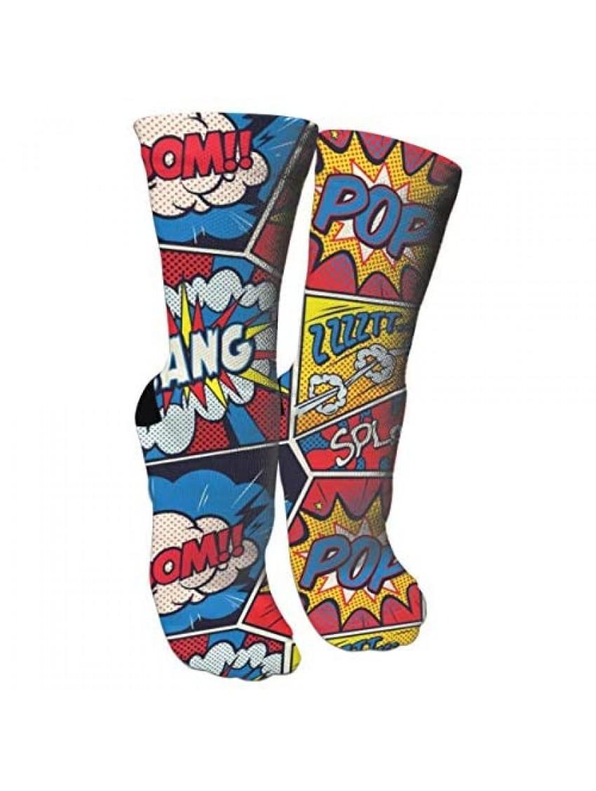 Retro Pop Art Comic Shout Compression Socks Unisex Printed Socks Crazy Patterned Fun Long Cotton Socks Over The Calf Tube