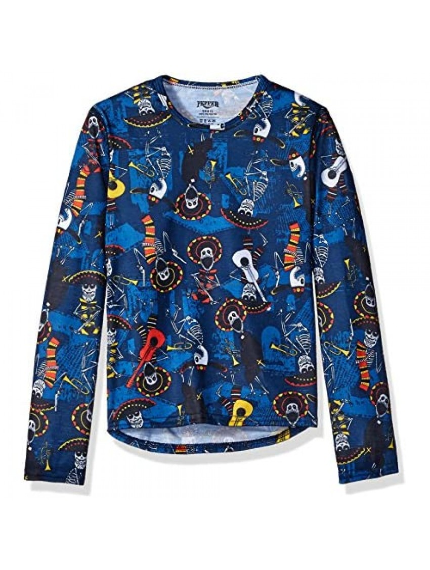 Hot Chillys Youth Pepper Skins Print Crewneck  Mariachi-Navy  Large