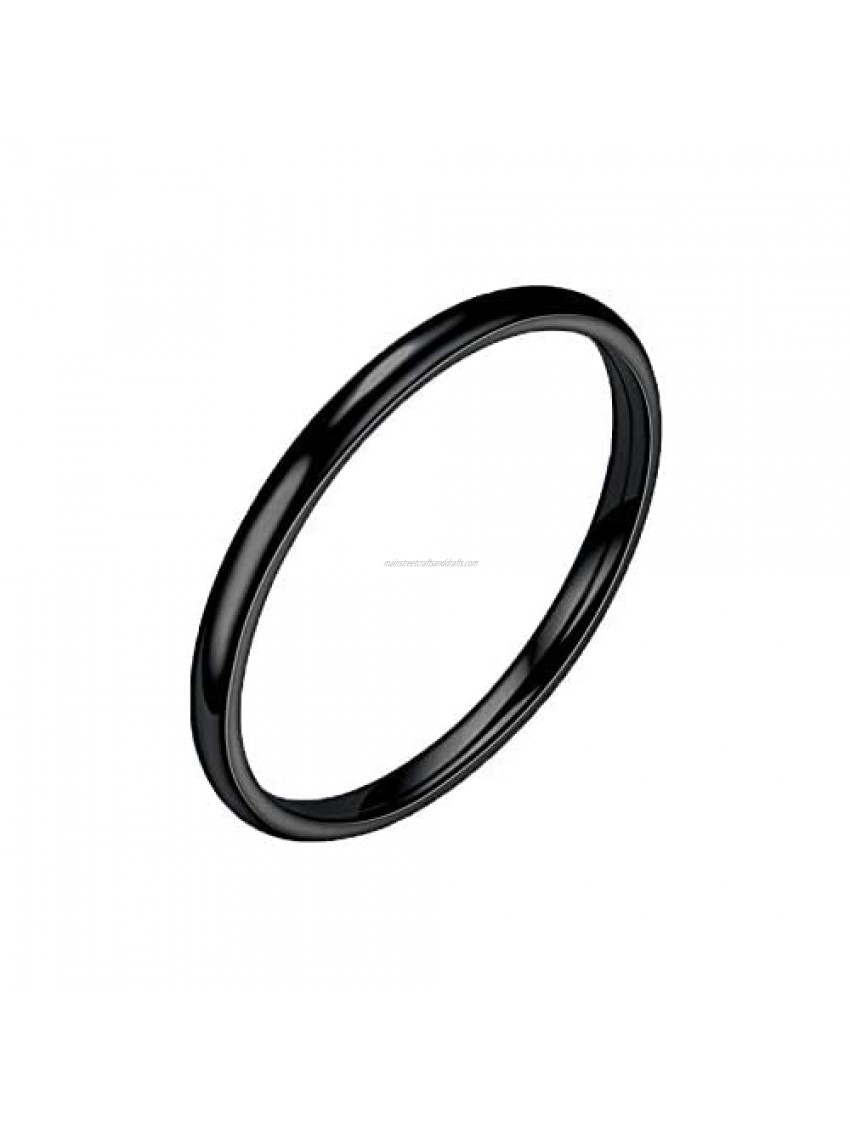 Mlide 1Pcs 2mm Stainless Steel Wedding Band Ring Tungsten Carbide Stackable Ring