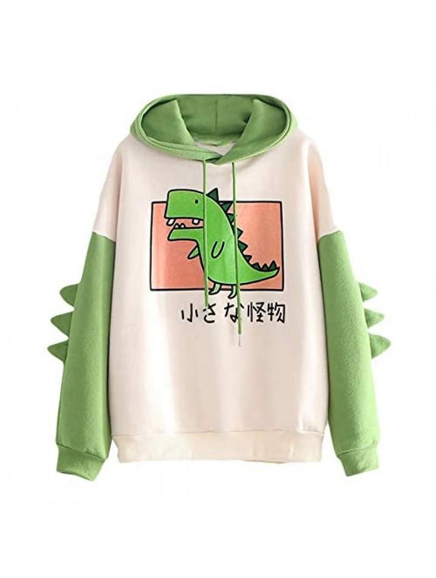 Women's Dinosaur Sweatshirt Long Sleeve Splice Tops Cartoon Cute Hoodies Teens Girls Casual Pullover
