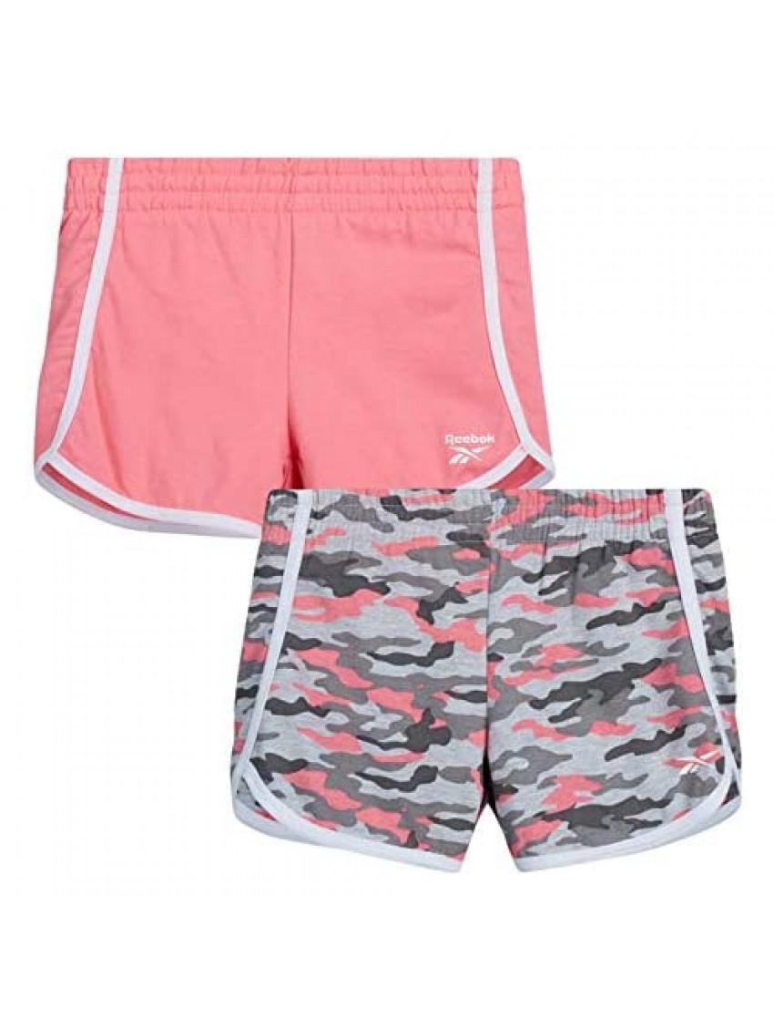 Reebok Girls' Active Shorts - Lightweight Athletic Fleece Shorts (2 Pack)
