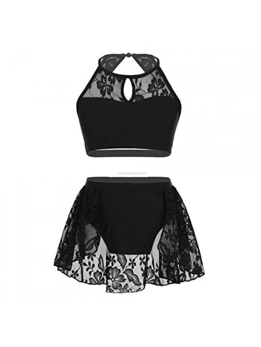 YiZYiF Big Girls Kids' 2-Piece Lace Floral Active Top&Skirts Outfits for Lyrical Dancing or Gymnastics Sports