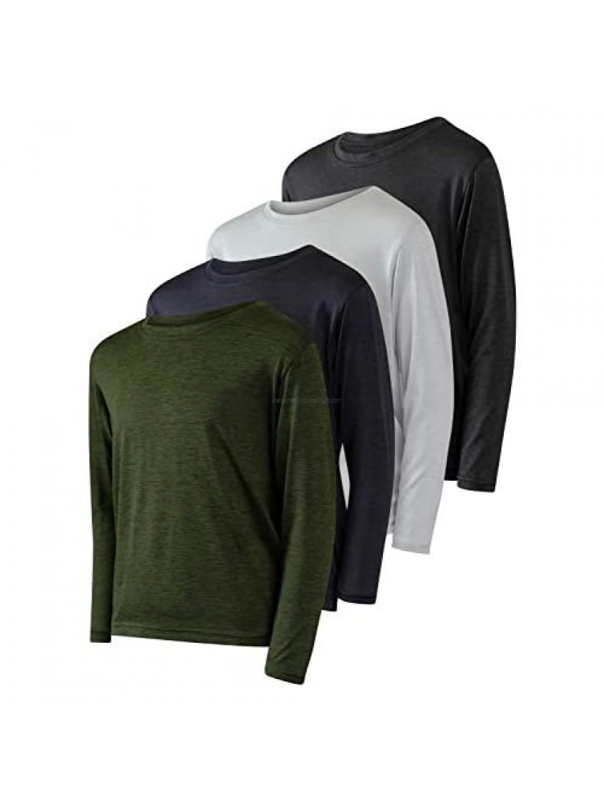 4 Pack: Youth Dry-Fit Moisture Wicking Active Athletic Performance Long-Sleeve T-Shirt Boys & Girls