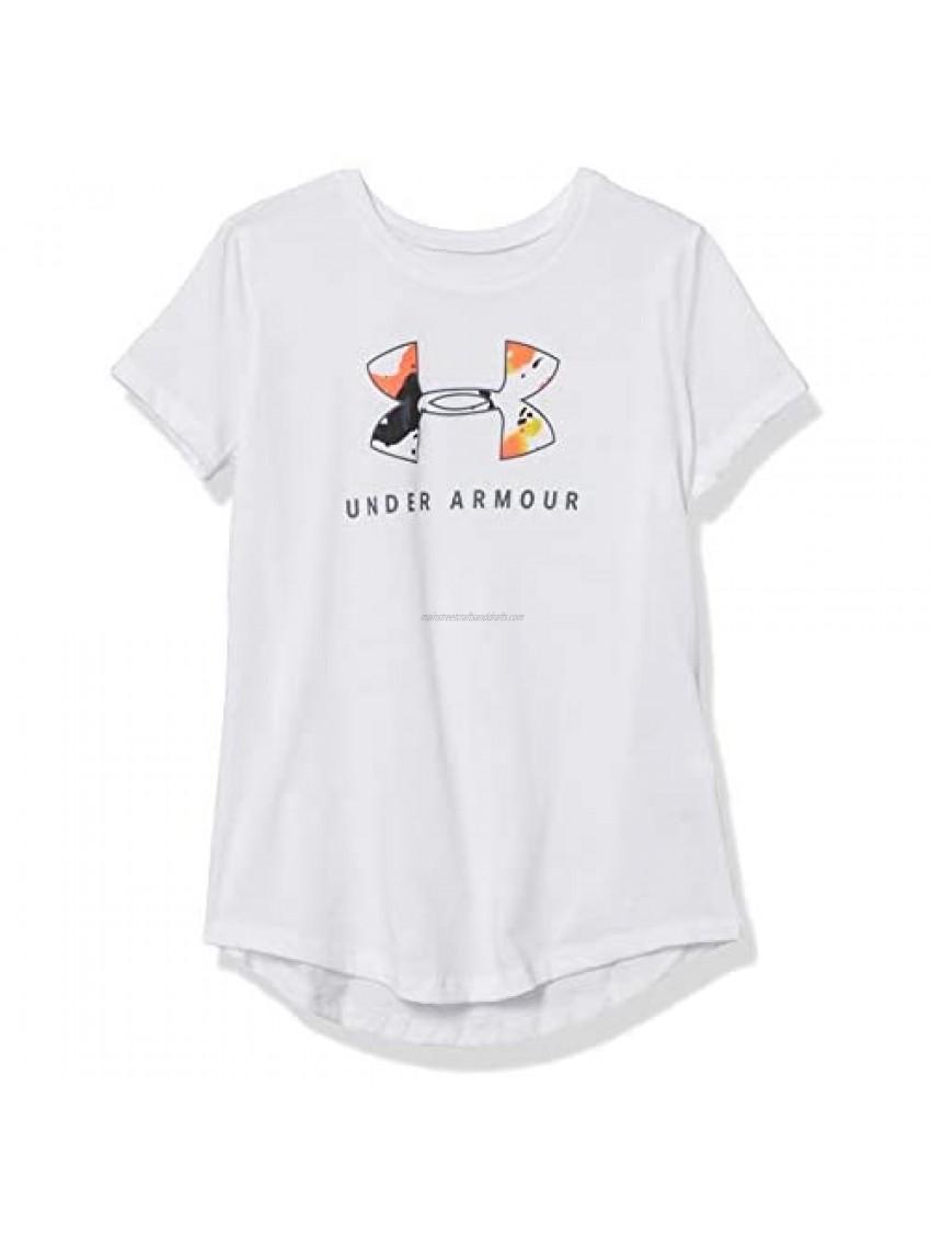 Under Armour Girls' Top Step Big Logo Tech Short Sleeve Gym Workout T-Shirt
