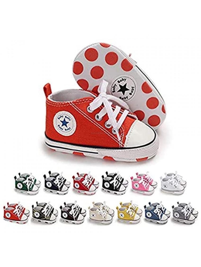Baby Boys Girls Star High Top Sneaker Soft Anti-Slip Sole Newborn Infant First Walkers Canvas Denim Shoes