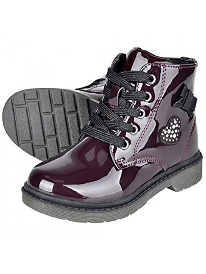HOMEHOT Girls Lace Up Zipper Waterproof Ankle Boots Faux Leather Outdoor Combat Shoes for Little Big Kid