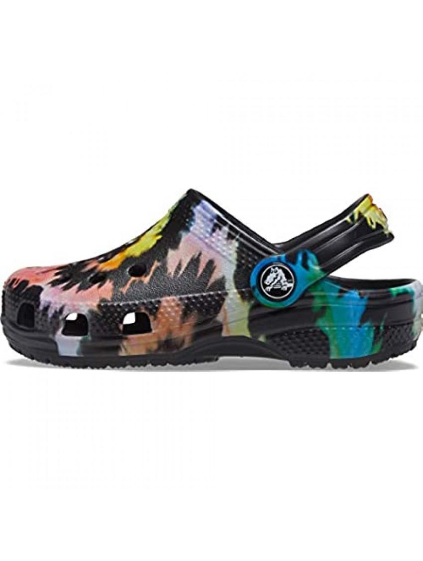 Crocs unisex child Kids' Classic Tie Dye | Slip on Shoes for Boys and Girls Clog  Black/Pastel  3 Little Kid US