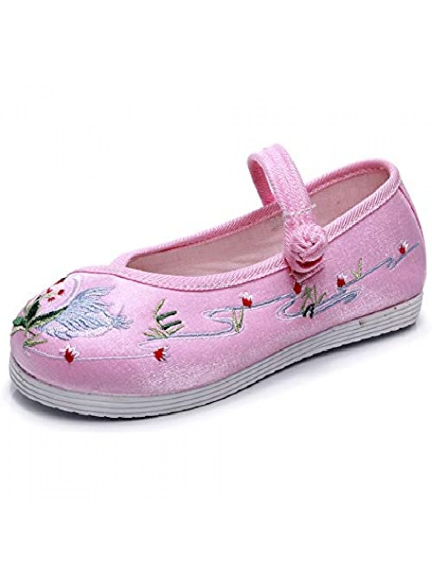 Matari Girl's Flat Bottom Embroidered Shoes Antique Style Shoes Comfortable Cloth Shoes