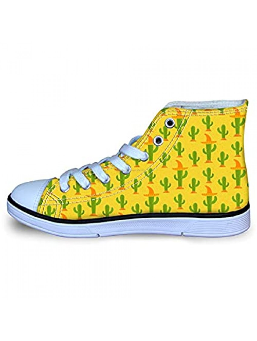 Cacti Cactus in Mexican Sombrero Boy's Girl's Classic Adjustable Lace up Canvas Sneaker Hi Top Shoes