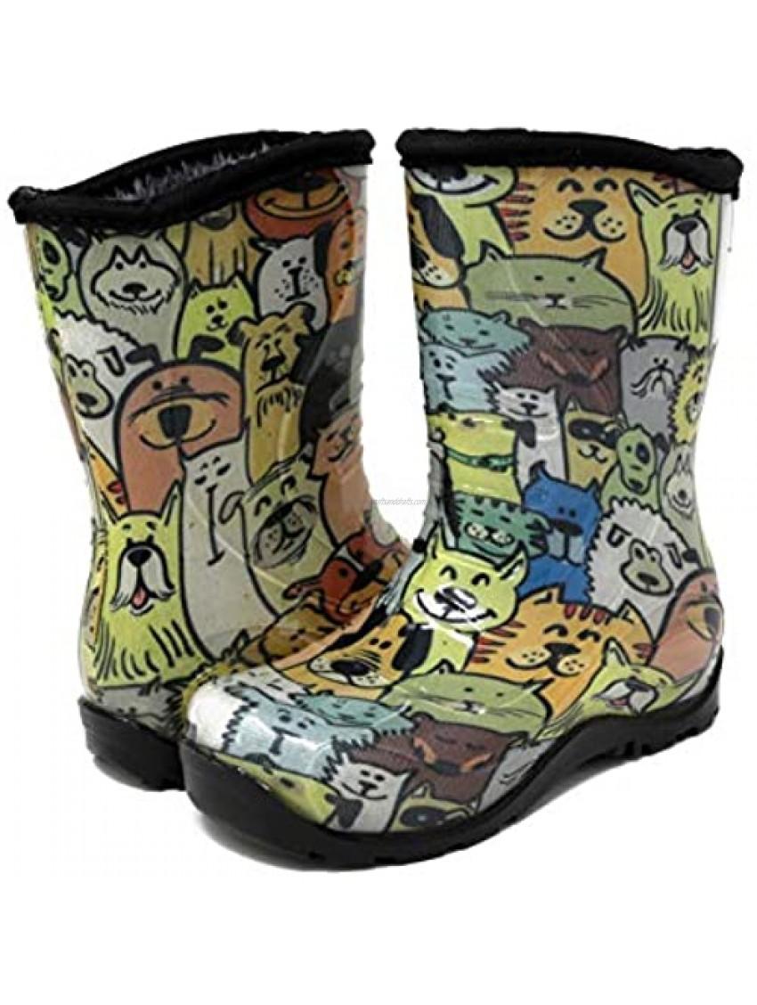 Pally Kids Dogs Rain Boot  Yellow Brown 8 M US
