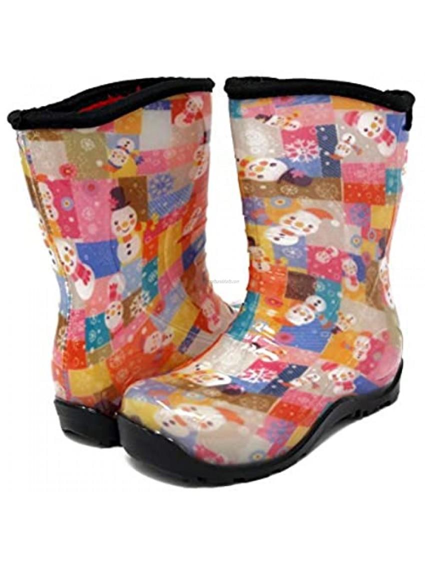 Pally Kids Snowman Rain Boot  Pink Black 11 M US