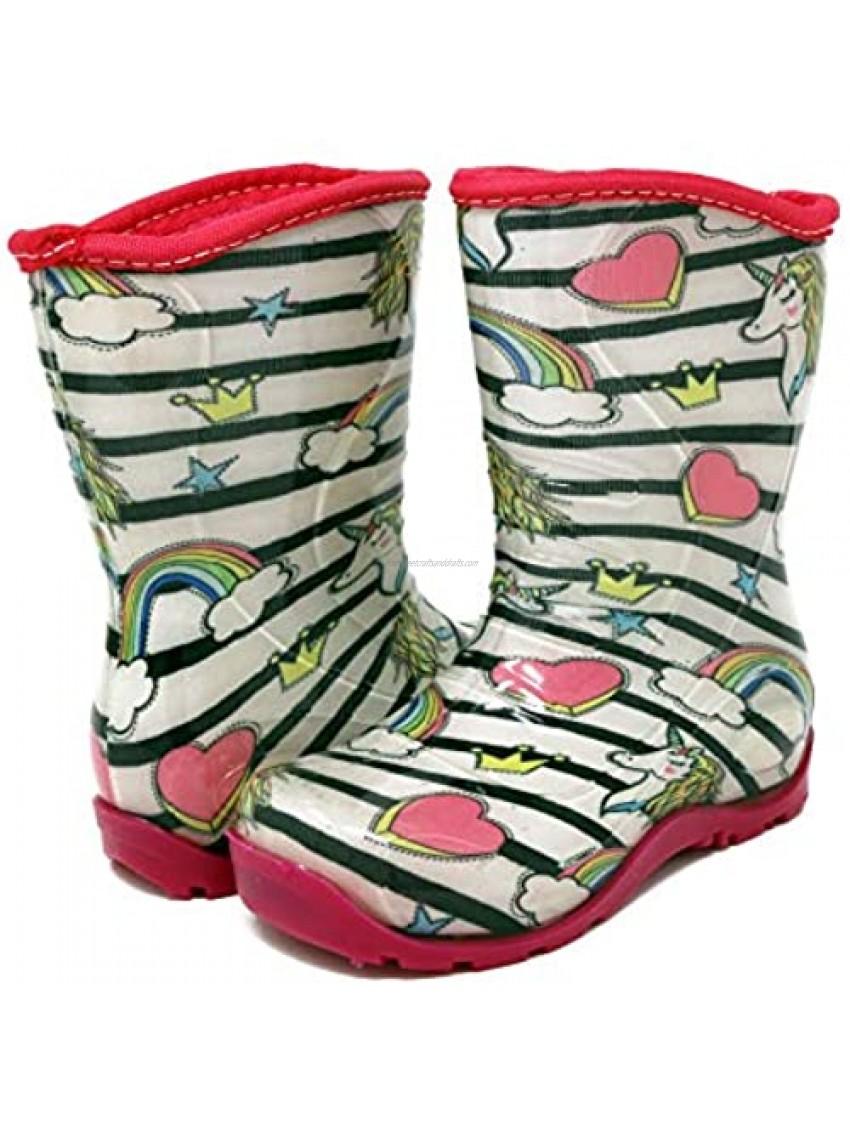 Pally Kids Unicorn Rain Boot  White Pink 8 M US