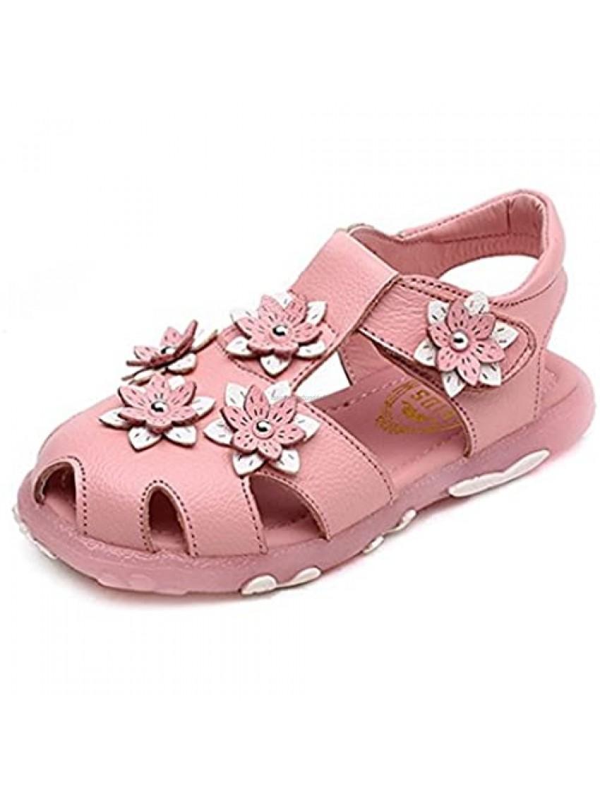 Girls Closed Toe Sandals Summer Soft Floral Outdoor Sport Flat Shoes (Toddler/Little Kid)