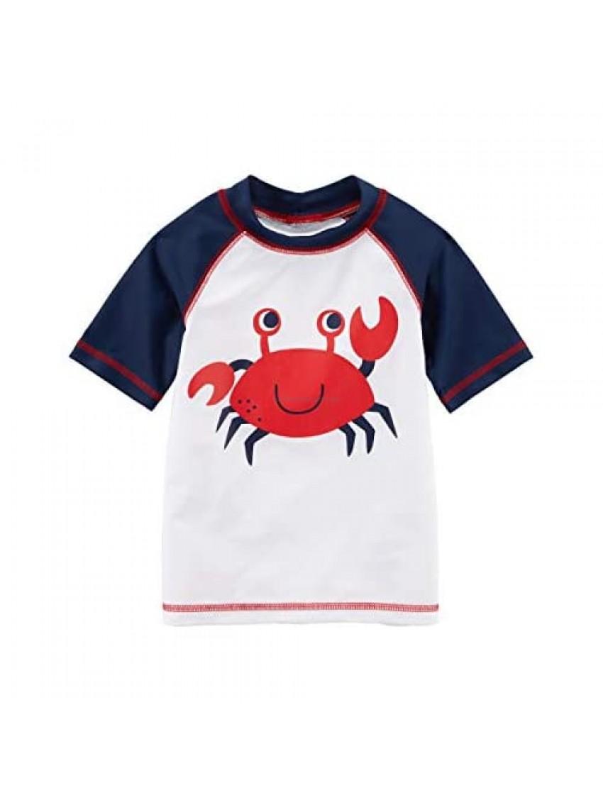 Carter's Boys' Crab Graphic Rashguard Shirt  Red